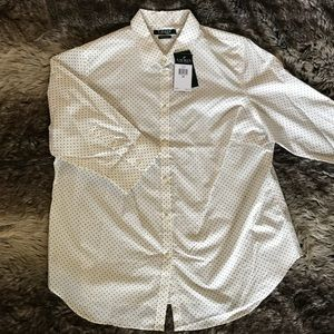 NWT Ralph Lauren white polka dot button down top